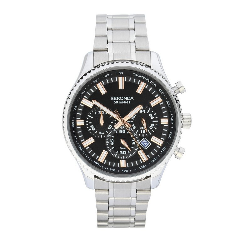 buy sekonda mens steel bracelet black at argos