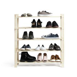 Habitat 5 Shelf Shoe Storage Rack - Solid Unfinished Pine