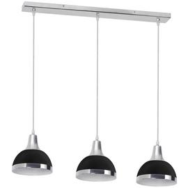 3 Bulb Pendant Light with Black Shades - Chrome
