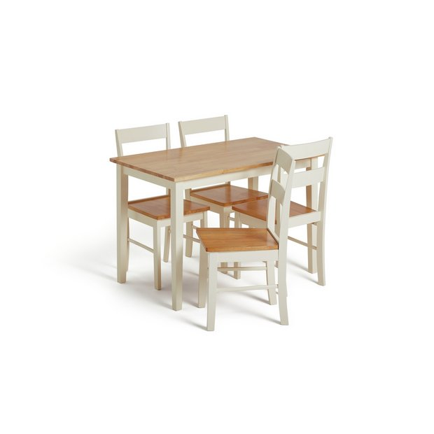 Buy Collection Chicago Solid Wood Table 4 Chairs Two Tone At Your Online Shop