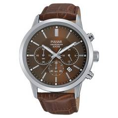 Pulsar Men's Brown Strap Chronograph Watch