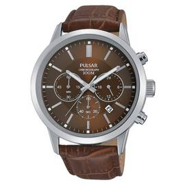 0f8182a4f Pulsar Men's Brown Leather Strap Chronograph Watch