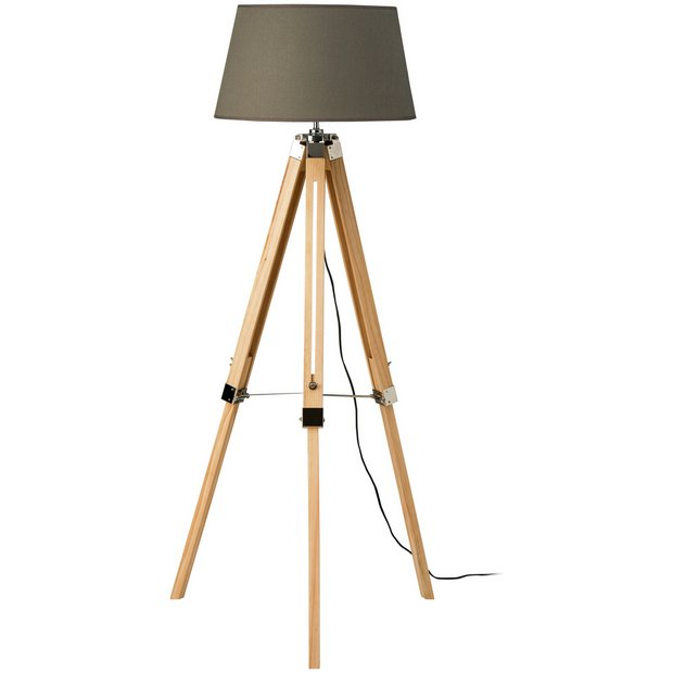 Buy tripod floor lamp with grey shade and wood base at for Floor lamp babies r us