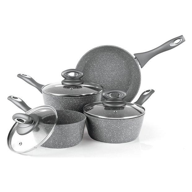 Buy salter 4 piece marble effect aluminium pan set at for Kitchen set argos