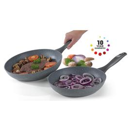 Salter 2 Piece Marble Non-Stick Aluminium Frying Pan Set