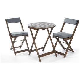 Greenhurst 2 Seater Hardwood Bistro Set with Grey Cushions