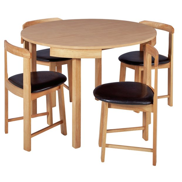 Buy Hygena Alena Circular Solid Wood Table 4 Chairs