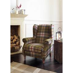Argos Home Argyll Fabric High Back Chair - Autumn Tartan