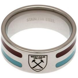 Stainless Steel West Ham Striped Ring - Size R