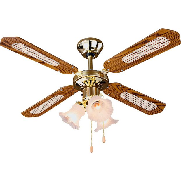 buy home decorative 3 light ceiling fan brass at argos. Black Bedroom Furniture Sets. Home Design Ideas