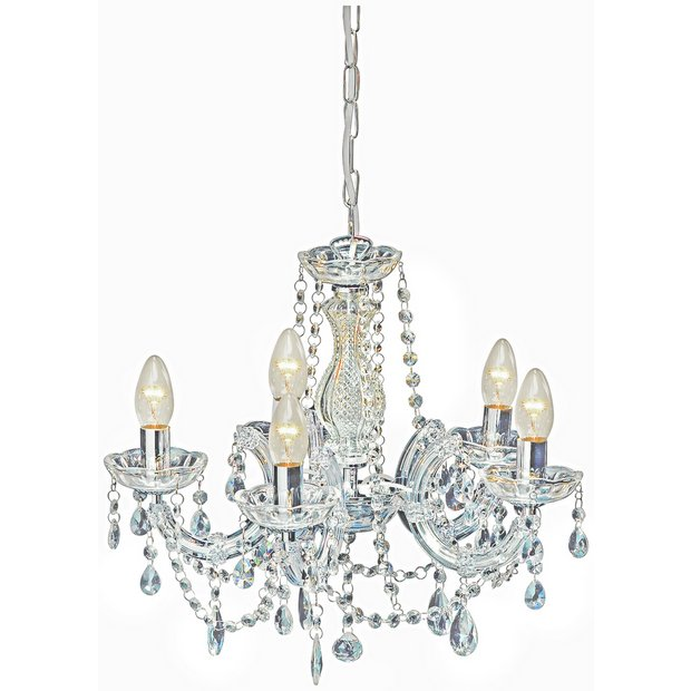 Buy collection inspire chandelier 5 light ceiling fitting clear at your online - Chandelier online shopping ...