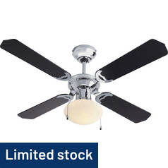 Argos Home Ceiling Fan - Black & Chrome