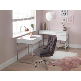 Argos Home Sammy 3 Drawer Desk - Grey Gloss