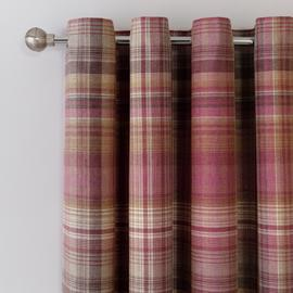 Argos Home Brushed Check Lined Eyelet Curtains