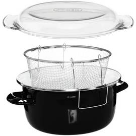 Premier Housewares Enamel Deep Fryer - Black