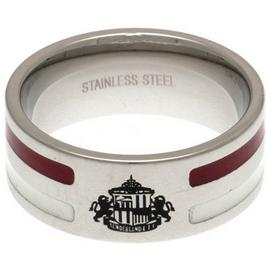Stainless Steel Sunderland Striped Ring - Size R