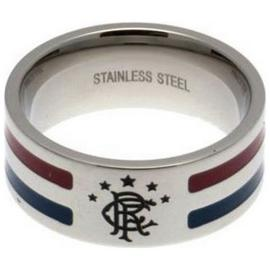 Stainless Steel Rangers Striped Ring - Size R