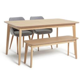 Argos Home Skandi Oak Veneer Dining Table, 2 Chairs & Bench