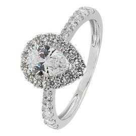 Revere 9ct White Gold Pear Cut Cubic Zirconia Halo Ring - N