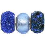 more details on Link Up S.Silver Blue Crystal Glass Bead Charms - Set of 3.