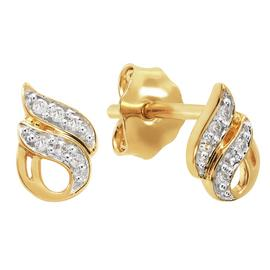 Revere 18ct Gold Plated Silver Flame Stud Earrings