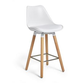 Argos Home Charlie Faux Leather Bar Stool - White