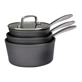 Argos Home 3 Piece Hard Anodised Aluminium Saucepan Set