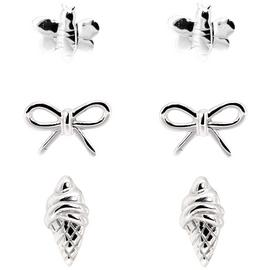 Link Up Sterling Silver Palm Tree and Bow Cream Studs - 3.