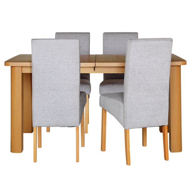 Buy Collection Stonebury Extending Oak Table 4 Chairs Grey At Your Online Shop