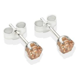 Sterling Silver Champagne Cubic Zirconia Stud Earrings - 4mm