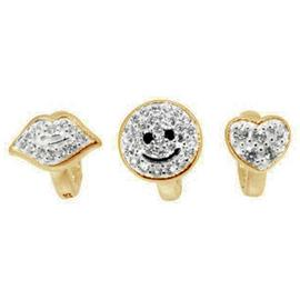 Link Up Gold Plated Silver Crystal Smile Charms - Set of 3.