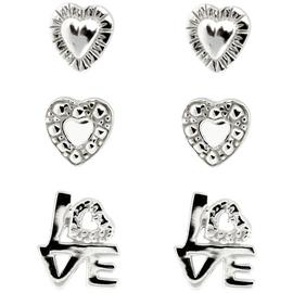 Link Up Sterling Silver Heart and Love Studs - Set of 3.