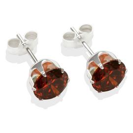 Sterling Silver Brown Cubic Zirconia Stud Earrings - 7mm.