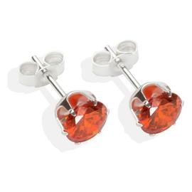 Sterling Silver Orange Cubic Zirconia Stud Earrings - 6mm.