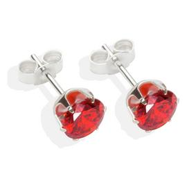 Sterling Silver Red Cubic Zirconia Stud Earrings - 6mm.