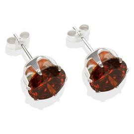 Sterling Silver Brown Cubic Zirconia Stud Earrings - 8mm.