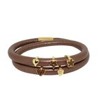 more details on Link Up 2 Row Brown Leather Charm Bracelet.