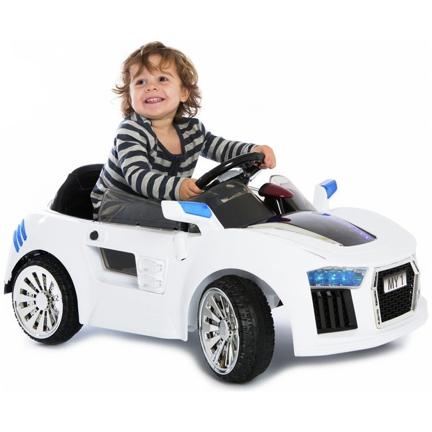 buy kidsplay 6v white sports car at argoscouk your online shop for battery powered vehicles wheeled toys outdoor toys toys