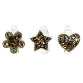 Link Up Sterling Silver Flower, Star and Heart Charms - 3.