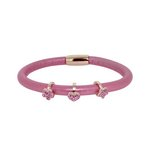 more details on Link Up Single Row Pink Leather Cord Charm Bracelet.