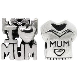 Link Up Sterling Silver No1 Mum Charms - Set of 2.