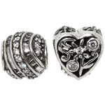 more details on Link Up Sterling Silver Filigree and Heart Bead Charms - 2.