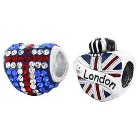 Link Up Sterling Silver Union Jack Bead Charms - Set of 2.