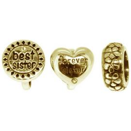 Link Up Gold Plated Silver Crystal Best Sister Charms - 3.
