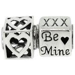 more details on Link Up Sterling Silver Be Mine Heart Charms - Set of 2.