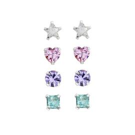 Link Up Sterling Silver Crystal Stud Earrings - Set of 4.