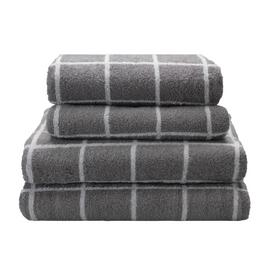 Argos Home Grid 4 Piece Towel Bale - Grey
