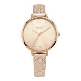 Identity London Ladies Rose Gold Leather Strap Watch