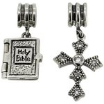 more details on Link Up Sterling Silver Bible and Cross Drop Charms - 2.