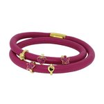 more details on Link Up 2 Row Rose Pink Leather Cord Charm Bracelet.